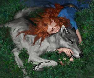 wolf, lady, and girl image