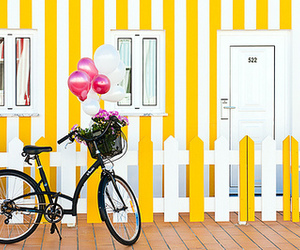 bicycle, house, and yellow image
