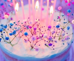 cake, flowers, and lights image
