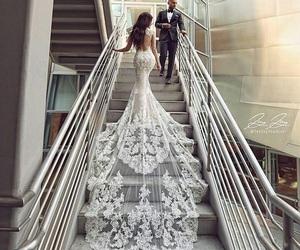 dress, wedding, and couple image