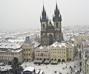 winter, prague, and snow image