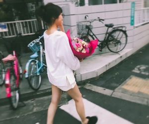 flower, girl, and japan image