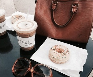 donuts, bag, and coffee image