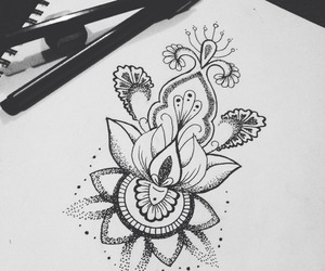 dibujo, flores, and mandalas image