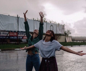 rain, girls, and friends image