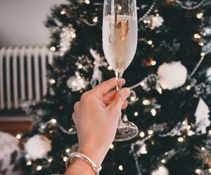 christmas, winter, and champagne image
