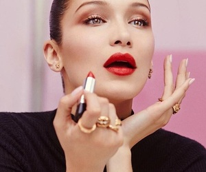 model, red lips, and bella hadid image