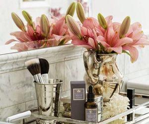 bathroom, flowers, and lipstick image