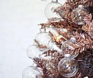 christmas tree, decorating, and rose gold image