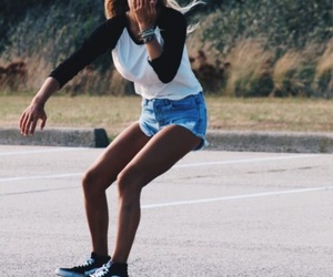 girl, vans, and skate image