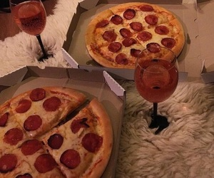 drinks, food, and pizza image