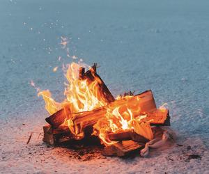 beach, bonfire, and sea image