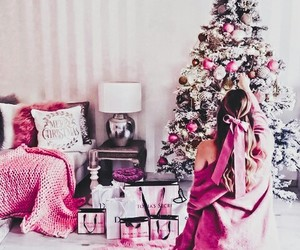 christmas, pink, and holiday image
