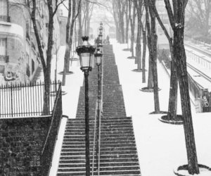 black and white, escalier, and montmartre image