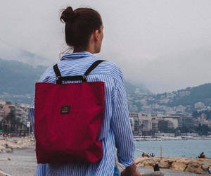 backpack, lifestyle, and shopping bag image