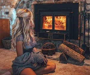 girl, winter, and fire image