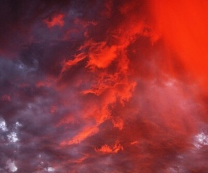 clouds, sky, and red image