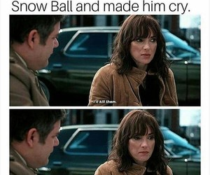 winona ryder, joyce byers, and snow ball image
