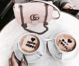 coffee, gucci, and pink image