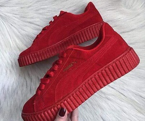 red, puma, and shoes image