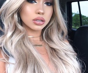 makeup, blonde, and lipstick image