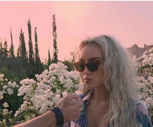 girl, cigarette, and flowers image