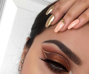 bronze, eyeshadow, and gel nails image