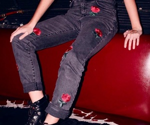 red, jeans, and rose image