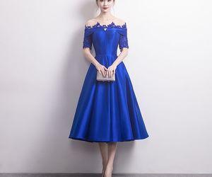 fashion, girl, and royal blue image
