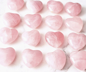 hearts, rose quartz, and pale pink image