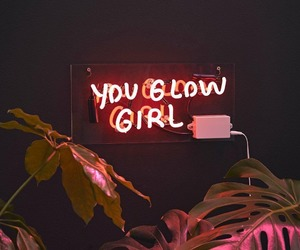 girl, neon, and light image