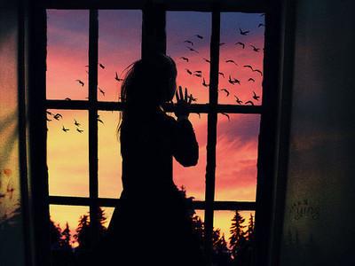 girl, bird, and window image