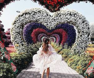 dress, flowers, and hearts image