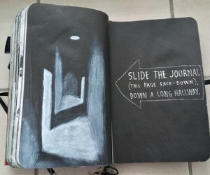 wreck this journal, slide the journal, and down a long hallway image