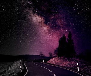 stars, night, and road image