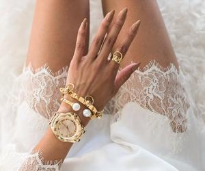fashion, nails, and gold image
