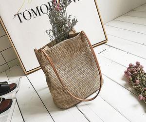 bag, straw, and boho image