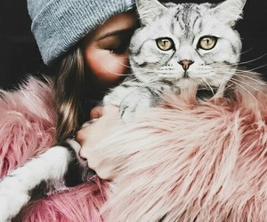 cat, girl, and vogue image