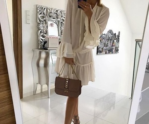 bedroom, high heels, and white dress image