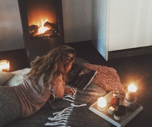 candles, cozy, and winter image