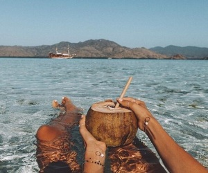 summer, coconut, and sea image