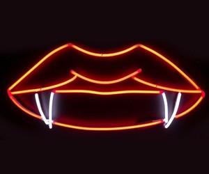 vampire, lips, and neon image