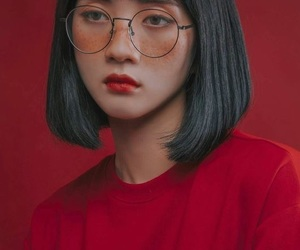 girl, red, and aesthetic image