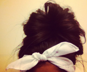 brunette, hair, and messy bun image