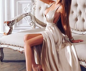 lavish, SEXY HOT, and silky dress image