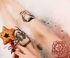 bathtub, legs, and star image