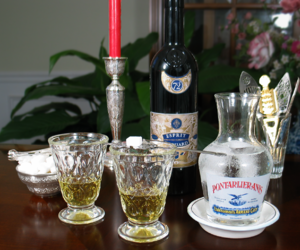spoon, absinthe, and carafe image