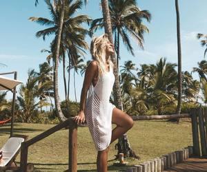 beach, girl, and sun image