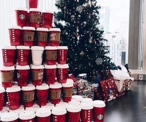 christmas, coffee, and starbucks image