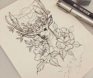 art, tattoo, and deer image